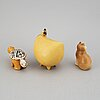 Lisa larson, three stoneware figurines, gustavsberg.