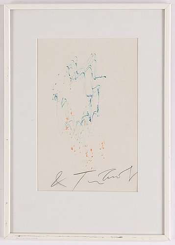 Jean tinguely, drawing, signed.