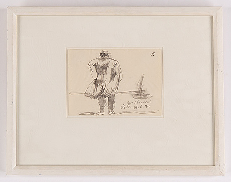 Ragnar sandberg, ink drawing, signed and dated 18/6-71.