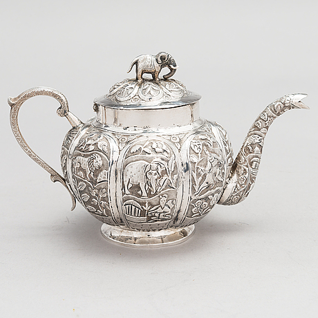 A 3-piece asian silver tea set, presumably from the mid-20th century.
