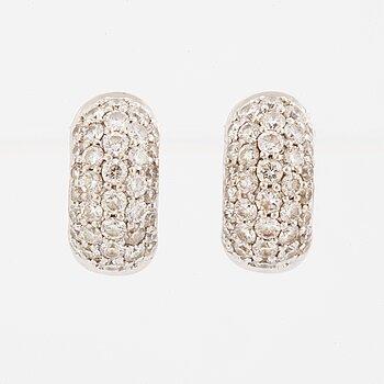 Pair of brilliant-cut diamond earrings, pavésetting, total ca 1.16 ct.