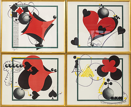 Carl fredrik reuterswärd, a set of four lithographs, numbered  182/200 and signed.