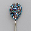 A russian early 20th century silver and enamel spoon, mark of probably matryena andreyevna, moscow 1899-1908.