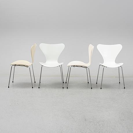 """Arne jacobsen, stolar, 8 st, """"sjuan"""", fritz hansen, danmark, 2003."""