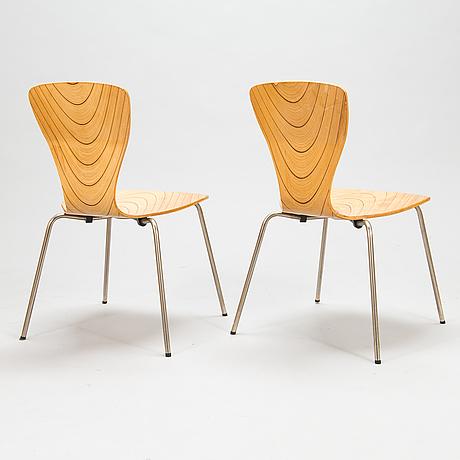 Tapio wirkkala, two mid-20th century 'nikke' chairs for asko finland.