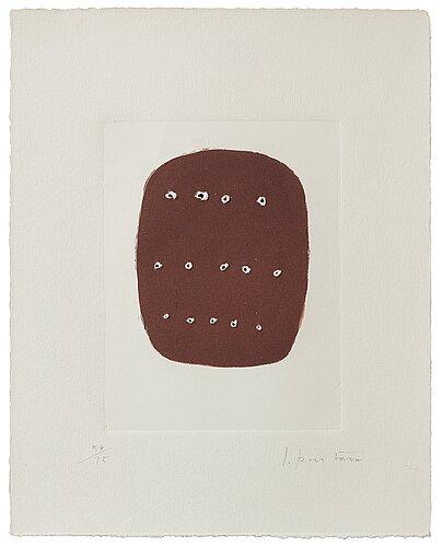 """Lucio fontana, untitled, from: """"dix eaux-fortes. l'épée dans l'eau"""" (alain jouffroy)."""