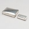 A cigar box and a snuffbox in silver, denmark 1951 and sweden 1906.