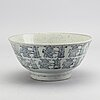 A blue and white bowl, south east asia, 19th century.