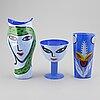 Ulrica hydman-vallien, 3 glass vases, kosta boda.