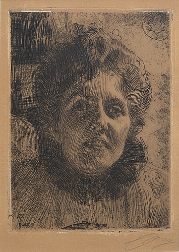Anders zorn, a signed etching form 1909.