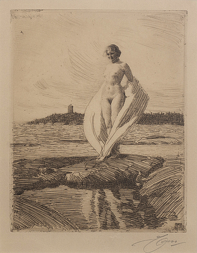 Anders zorn, a signed etching from 1915.