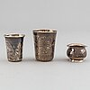 3 russian silver beakers, moscow 1880-84 and kiev 1908-26.