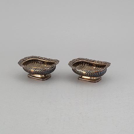A pair of silver salt cellars, solomon royes, london 1820.