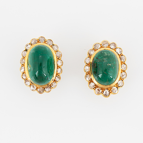 Cabochon-cut emerald and rose-cut diamond earrings.