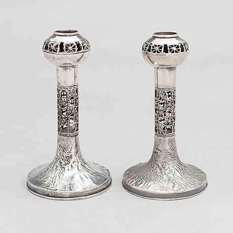 Pentti sarpaneva, pentti sarpaneva, a pair of silver candlesticks, turku 1968 and 1974.