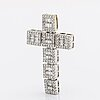 Diamond cross 18k whitegold w brilliant and baguette-cut diamonds 2,89 ct inscribed, approx 4,5 x 3 cm.