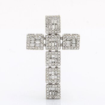 Diamond cross 18K whitegold w brilliant and baguette-cut diamonds 2,89 ct inscribed, approx 4,5 x 3 cm.