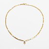 An 18k white and yellow gold necklace with a ca. 0.10 ct diamond.