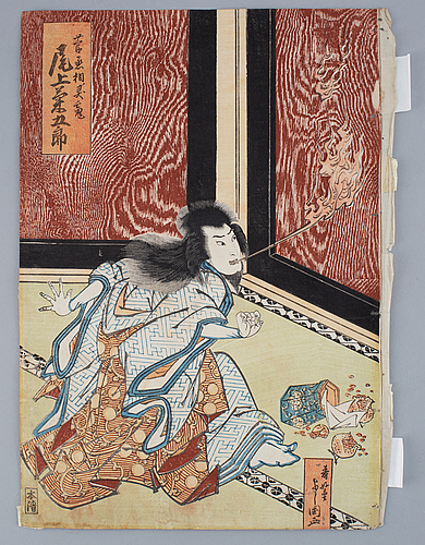 Toyokawa yoshikuni and kunisada, two coloured woodblock prints, japan, 19th century.,