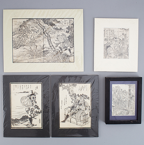 Four japanese woodblock prints from album, 19th century.