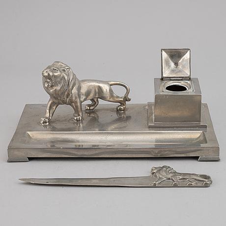Skrivbordsuppsättning, 6 delar, tenn, art déco, 1932.