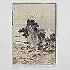 Katsushika hokusai (1760–1849), after, two woodblock sheets from album, 19th century.