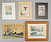 Five coloured woodblock prints, including after hiroshige, japan, 19th/20th century.
