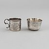 Five 18th century russian silver vodka cups.