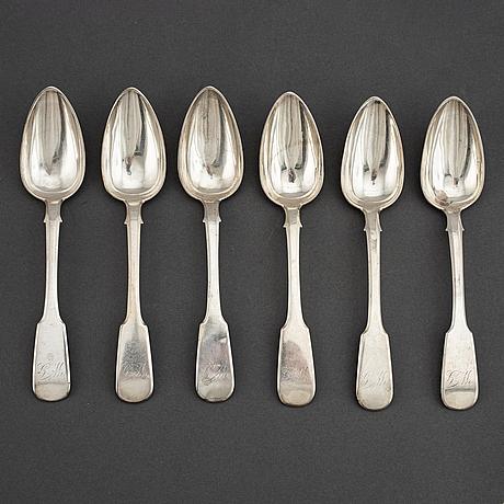 6 russian silver spoons, s:t petersburg 1846.