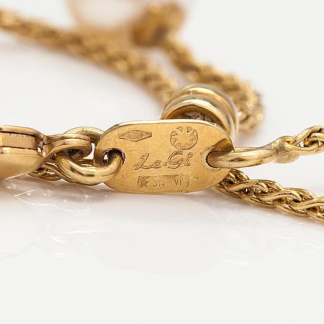 Kaulakoru, 18k kultaa, viljellyt helmet. le-gi, italia.