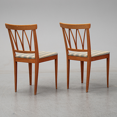 Carl malmsten, eight 'pyramid' mahogany chairs, Åfors möbelfabrik, 1958.