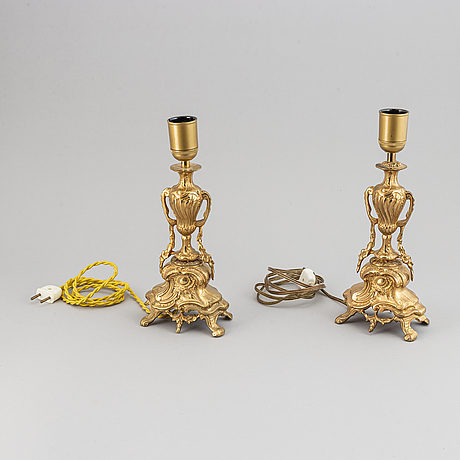 A pair of 20th century rococo style table lamps.