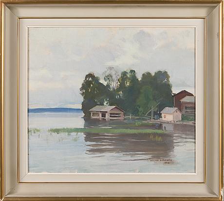 Wilho sjöström, olja på duk, signerad och daterad 1944.