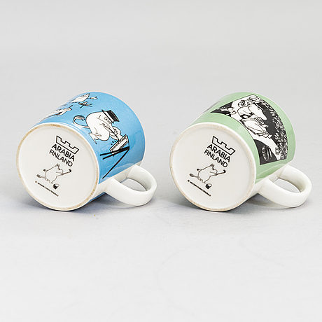 Two moomin-mugs, porcelain, moomin characters, arabia 1990-1996.
