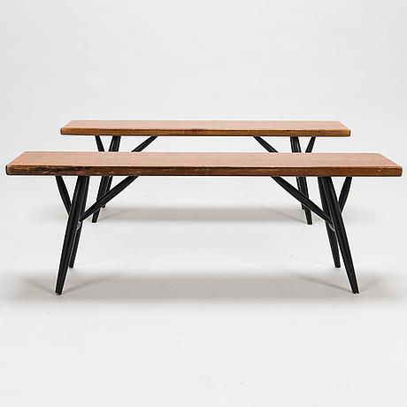 Ilmari tapiovaara, 1960's 'pirkka' dining table and benches for laukaan puu.
