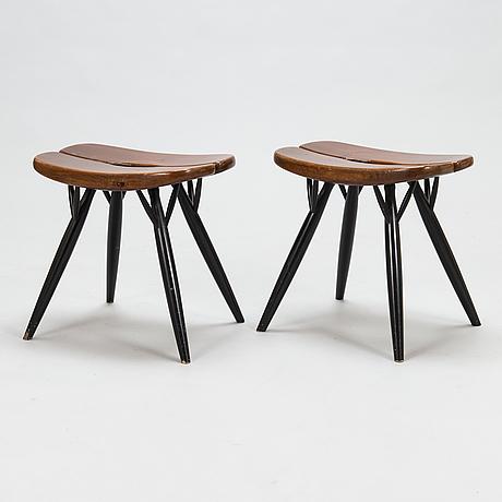 Ilmari tapiovaara, two 1960's 'pirkka' stools for laukaan puu.