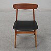 Four beech and teak chairs from farstrup, second half of the 20th century.
