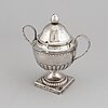 A russian late 18th century parcel-gilt silver sugar-bowl, unidentified makers mark, moscow 1799.