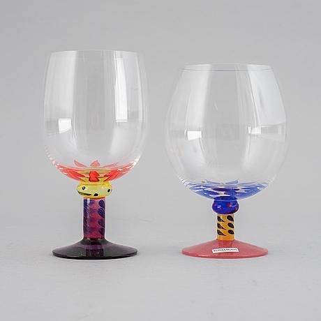 12 (6+6) glasses, ken done, kosta boda.