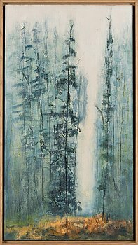 Marika Rosenius, acrylic and scratches on wood, signed.