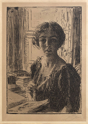 Anders zorn, a signed etching from 1914.