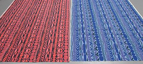 Stig lindberg, two cotton 'section/sektion' fabrics from nk:s textilkammare.