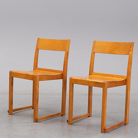 Six mid 20th century birch chairs, 'orkesterstolen', by sven markelius.