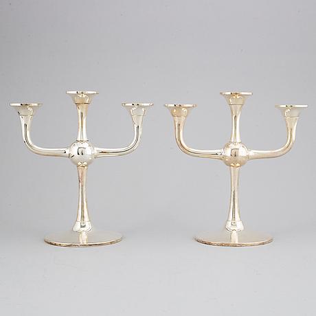 Karl johan ottosen, a pair of silver candelabra, norway.