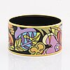 Frey wille, an 'ode to joy of life paradise moonlight' enamel and gilt metal bangle, austria, c 2012.