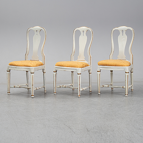 A set of three swedish rococo / gustavian chairs, second half of the 18th century.