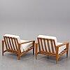 Svante skogh, a pair of 'bodö' oak easy chairs, ab hjertquist & co, nässjö, designed in 1957.