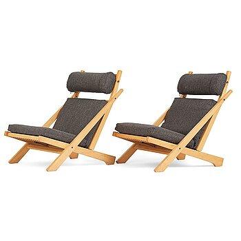 "Hans J Wegner, a pair of ""CH-03"" easy chairs for Carl Hansen & Søn, Denmark, 1960-70's."