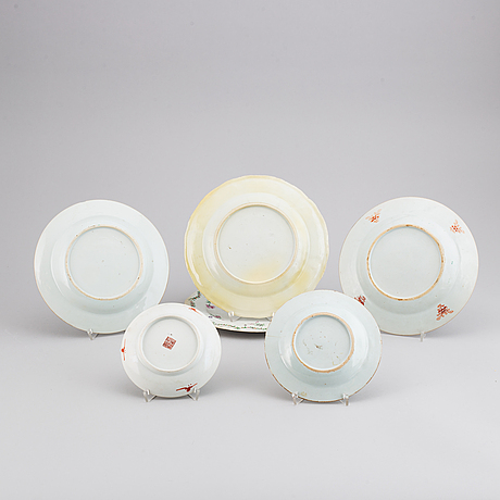 Five famille rose dishes, qing dynasty, qianlong (1736-95), and 19th century.