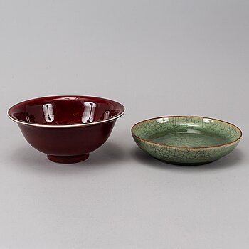 A sang de boef glazed bowl and a ge glazed dish, China, second half of the 20th Century.
